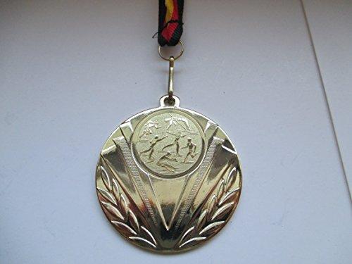 Fanshop Lünen Medaillen aus Stahl 50mm - mit Einem Emblem 25mm - Leichtathletik - Speerwurf - Hochsprung - Laufen - usw. - inkl. Medaillen-Band - Farbe: Gold - mit Emblem 25mm - Medaille -