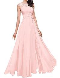 CLLA dress Damen Chiffon Abendkleider Lang Partykleider Transparenter  Ausschnitt Festkleider Ballkleider Brautjungfer Kleider a52db20995
