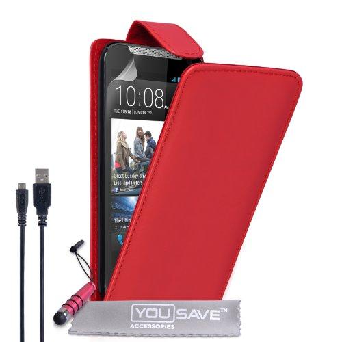 Yousave Accessories Coque HTC Desire 310 Etui Rouge PU Cuir Clapet Housse Avec Mini Stylet Et Chargement Micro USB