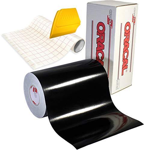 Oracal 651 Klebefolie, Hochglanz, Vinyl, 4,6 m x 30,5 cm, Rolle mit hartem Kernröhre, gratis 30,5 x 61 cm Rolle Transferpapier und hartem gelben Detailer-Rakel 15ft x 1ft schwarz