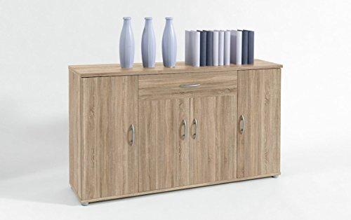 BEGA Sideboard Kommode Anrichte Mehrzweckschrank Highboard Schrank Lilly 13 Varianten mit 4 Türen, 1 Schubkasten und 3 Regalböden, 117 cm breit (Eiche Sonoma)