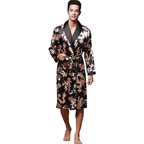 ASHOP Herren Langärmelige Satin Bademäntel Paisley Pattern Kimono Morgenmantel Nachtwäsche mit Tasche, 4 Farbe, S bis XL Schwarz,L
