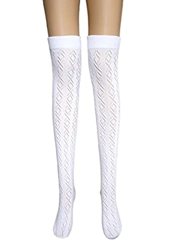 Ladies sexy white thigh high pelerine cotton stockings well above / over the knee socks (1 pair cross