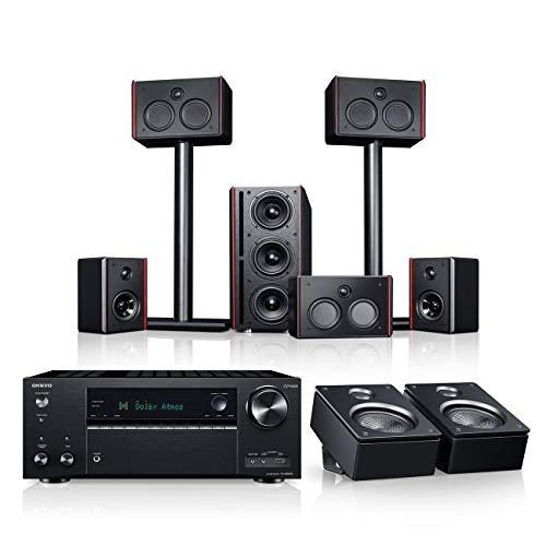 Teufel System 4 THX AVR für Dolby Atmos 5.1.2-Set Schwarz / Schwarz Heimkino Lautsprecher 5.1 Soundanlage Kino Raumklang Surround Subwoofer Movie
