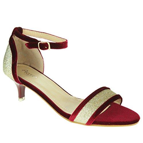 Frau Damen Sparkly Samtbesatz Offener Zeh Fesselriemen Kitten-Heel Abend Hochzeit Party Braut Sandalen Schuhe Größe Rot