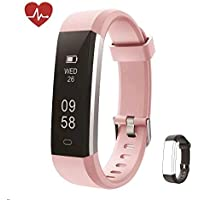 Kingsky Fitness Armband mit herzfrequenz Fitness Tracker mit Pulsmesser Wasserdicht IP67 Aktivitätstracker Pulsuhren Bluetooth Smart Armbanduhr Schrittzähler Damen mit GPS Alarm Kalorienzähler