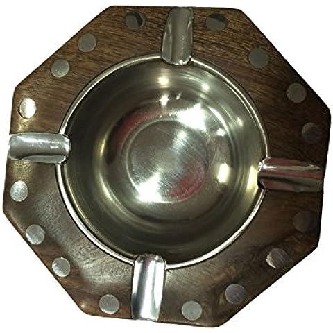 Portacenere di legno con argento Design, a mano indiano Bella Designer, decorativo Tavolo Posacenere, legno Posacenere Viaggi, Thanks Giving o regalo di Natale - 4in Regalo Tubo