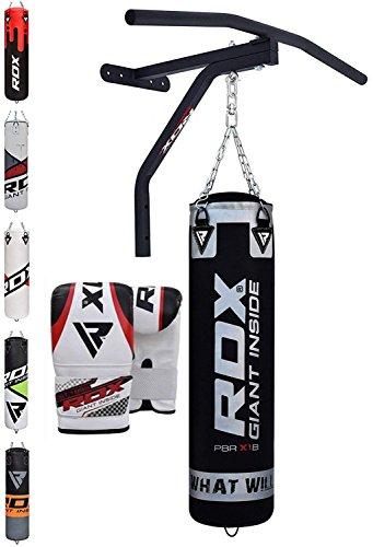 RDX Boxsack Set Gefüllt Kickboxen MMA Muay Thai Boxen wandhalterung mit klimmzugstange Stahlkette Training Handschuhe Kampfsport Schwer Punchingsack Gewicht 5FT (16-gauge-box)