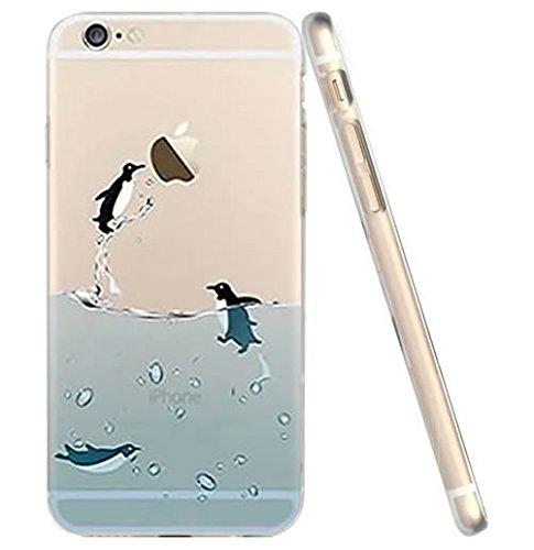 Schutzhülle für iPhone 6S, Pinguin-Hülle, niedliches Cartoon-Ozean-Pinguin-Design, weiches Flexibles TPU, schlankes Design, für iPhone 6S/iPhone 6 (Fliegender Pinguin)