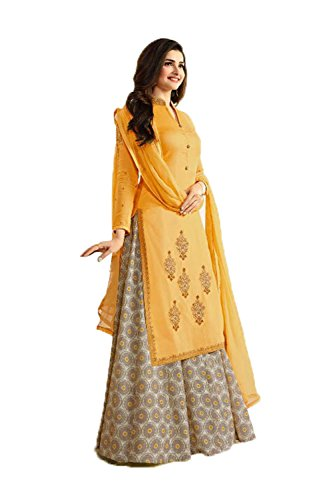 Fashions Biz Indian Women Designer Party wear yellow Anarkali Salwar Kameez Fabz-3270 (Chiffon Kameez Gelb)