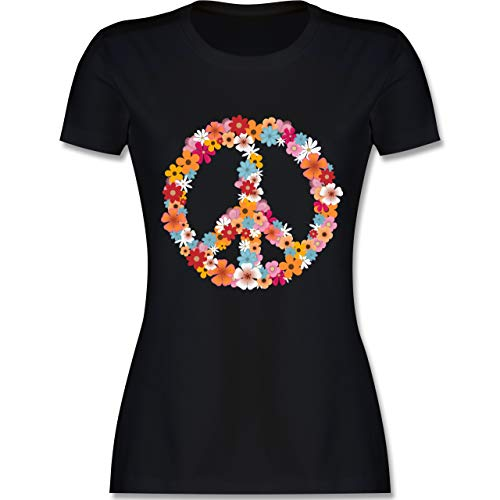 Kostüm Men's Woodstock - Statement Shirts - Peace Flower Power - L - Schwarz - L191 - Damen Tshirt und Frauen T-Shirt