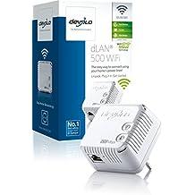 Devolo dLAN 500 WiFi - Adaptador de comunicación por línea eléctrica PLC (500 Mbps, 1 adaptador, 1 puerto LAN, repetidor WiFi, amplificador de señal WiFi, WiFi Move), blanco