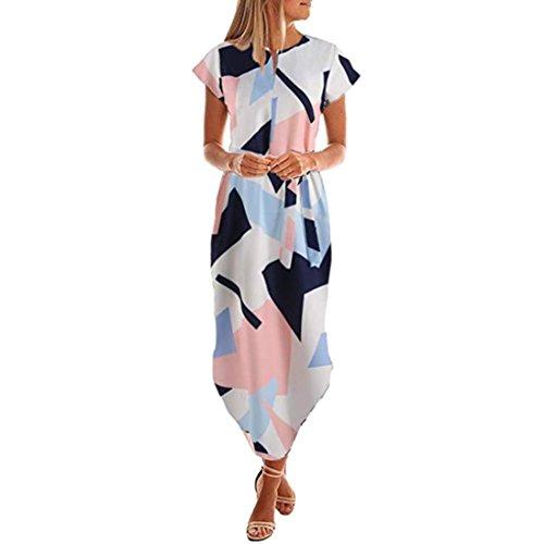 Damen Kleider Frauen Chiffon Sommerkleider Deep V-Ausschnitt Maxikleid Blumendruck Strandkleid Floral Long Minikleid Vintage Abendkleid Langarm T-Shirt Partykleid Cocktailkleid (XL, Blau ()