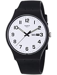 Swatch Herren-Armbanduhr XL New Gent Twice Again Analog Quarz Silikon SUOB705