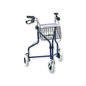 GiMa 43140Gehstock Gehhilfe mit 3Rädern, 7.7kg Gewicht, 100kg Kapazität von Belastung, blau