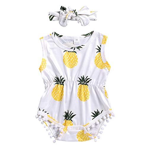 Sanahy Jumpsuit Kleid+Haarband Stirnband, Baby ärmellose Frucht Ananas Print Quaste Weste einteiliger Baby Schlafstrampler Babykleidung Neugeborenen Set Babybody Dupatta Set