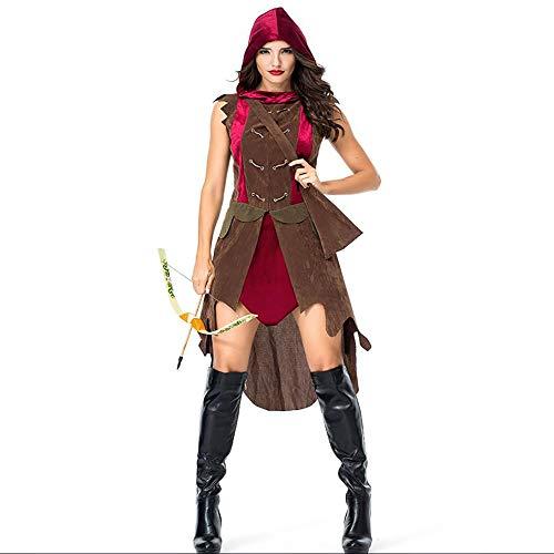 Shishiboss Erwachsene Halloween-Kostüme, Damen-Rollenspiel-Kostüme, Alter Bogenschützen-Jägeranzug mit Schulterköcher für Halloween-Partys und Mottopartys,M (Deer Hunter Kostüm Frauen)