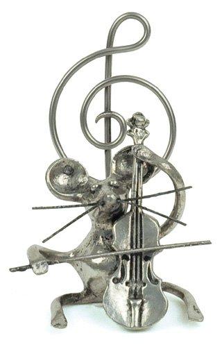 Souris Violoncelle Miniature - Porte-Photo - Etain 95,5% - Fabriqué en France - Objet déco - Cadeau musique