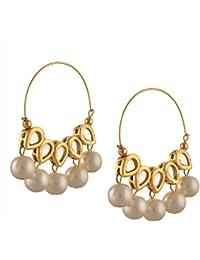 Zephyrr Fashion Traditional Gold Tone Hoop Earrings with Kundan Meenakari Pearls