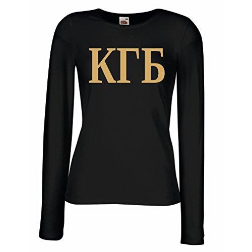 angen Ärmeln T-Shirt Politisch - KGB, UDSSR - CCCP, Russisch, Русский (Large Schwarz Gold) ()