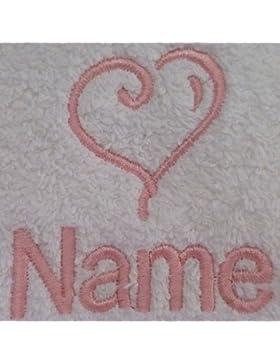 Adultos albornoz con un corazón Logo y nombre de su elección en color blanco, tamaño M, L, XL o XXL, Blanco, XXLarge