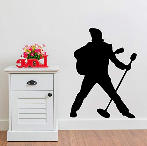 Cchpfcc Rock-Musik-Sänger Elvis Presley Spielt Gitarre Klassische Protrait Diy Vinyl Wand Aufkleber Wandbild Kunst Jungen Mädchen Wohnkultur