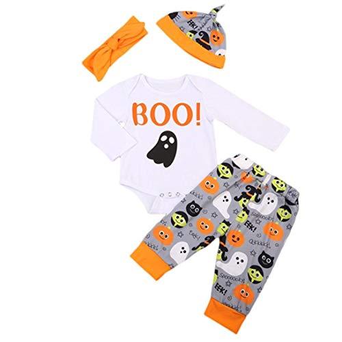 (Manadlian 4 STÜCK Halloween Kinder Baby Brief Drucken Spielanzug Hose Hut Stirnbänder gesetzt Weiß Outfit)