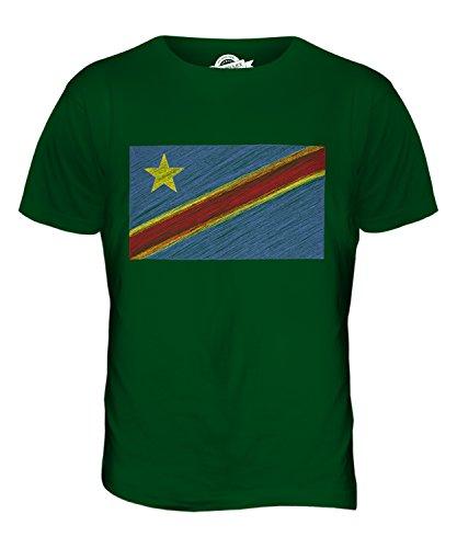 CandyMix Demokratische Republik Kongo Kritzelte Flagge Herren T Shirt Flaschengrün