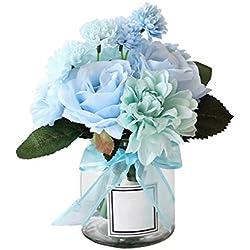 Unechte Blumen,Künstliche Deko Blumen Gefälschte Blumen Seidenrosen Plastik Dahlie Braut Hochzeitsblumenstrauß für Haus Garten Party Blumenschmuck 8 Zweig 10 Köpfe (Blau)