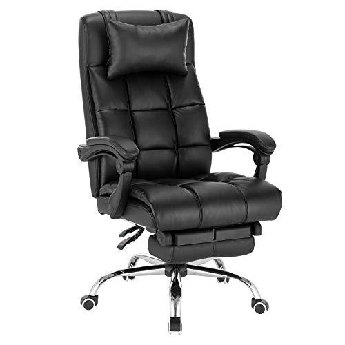 EUGAD 0013BGY Bürostuhl Chefsessel Schreibtischstuhl Drehstuhl Computerstuhl Office Stuhl, mit kopfkissen, mit Fußstütze, höhenverstellbar, ergonomisch, Kunstleder, Schwarz