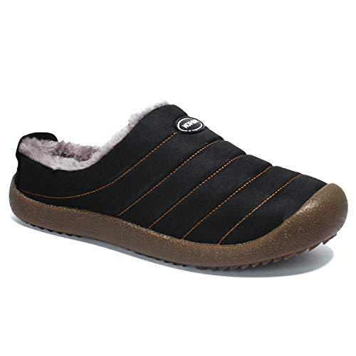 Stynice Warm Gefüttert Hausschuhe Herren Damen Plüsch Pantoffeln Haus Baumwolle Schuhe Freizeit Schuhe, Schwarz, 42 EU