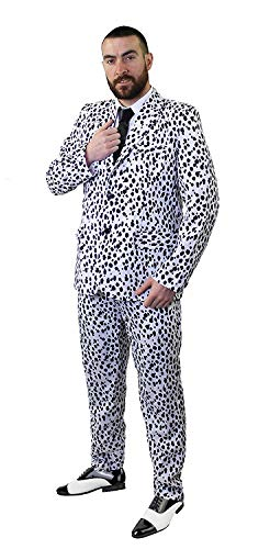 Men's Dalmation Suit with Black Tie (no cane) in Five Sizes