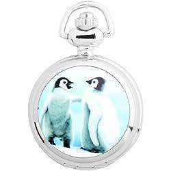 UNIQUEBELLA Pocket watch-Quartz-Men/ Women/ Children-Vintage-Alloy Chain/Necklace-B5-S3034 Silver-Penguins