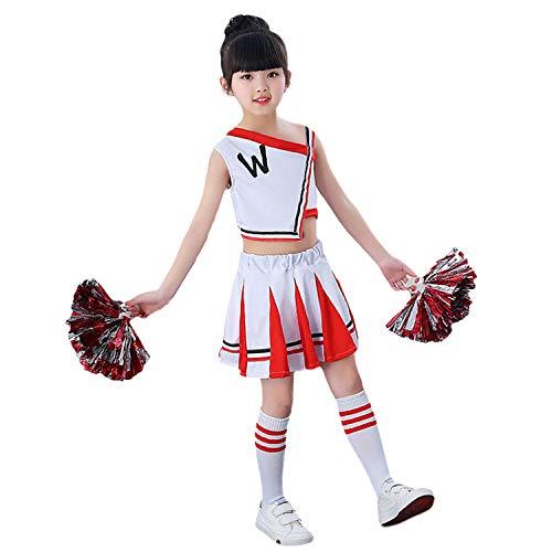 LOLANTA 4 stücke Kinder Cheerleader Uniform Klassisch Weiß Cheerleading Kostüm Spiel Pompons Socken