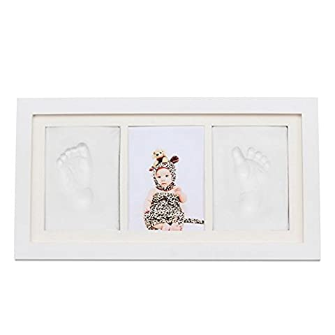 PRECIOUS BABY handprint and Footprint Frame Kit by BabyIn - Baby Prints Photo Keepsake in White with SGS-CSGT certification Non-Toxic - Premium Wood Frame Great Baby Gift For New Baby