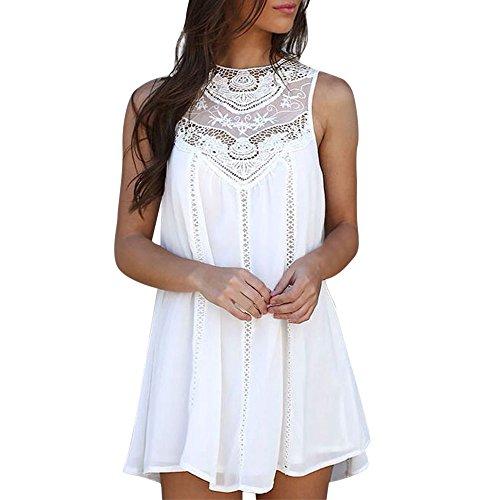 DAY.LIN Kleider Kleidung Damen Frau Beiläufig Feste Spitze Nähen O-Ausschnitt Ärmellos Chiffon Minikleid (Weiß, S)
