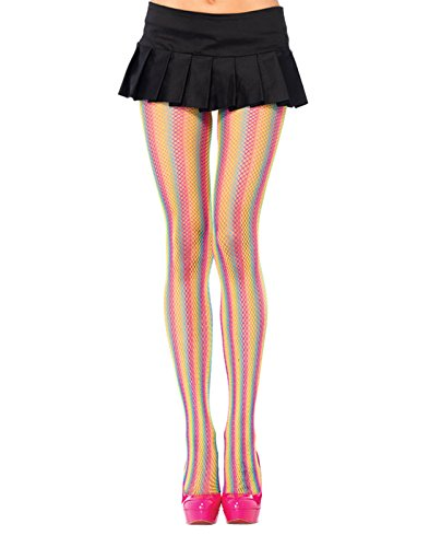 Leg Avenue 9970 - Gestreifte Netzstrumpfhose, Einheitsgröße, multicolor (Avenue Leg Strumpfhose Gestreifte)
