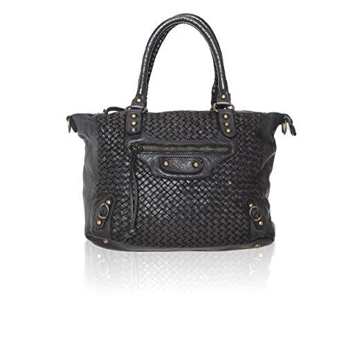 Chicca Borse Vintage Line - Damenhandtasche aus echtem Leder, verwebt Made in Italy - 36x27x13 Cm Schwarz