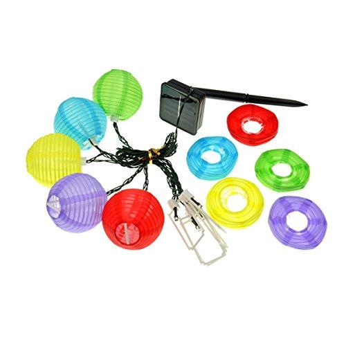 LED Solarlampe Lichterkette bunt Partylichterkette inkl 30 Lampion Papierlaterne Marke PRECORN