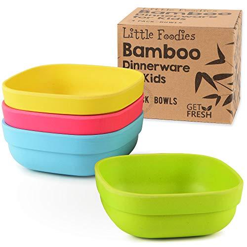 GET FRESH Bambus Kinderschalen, Set mit 4 Teilen Bambus Kinder Geschirr für den täglichen Gebrauch, umweltfreundliche Kinder Bambusschalen, BPA frei, spülmaschinenfest und stapelbar