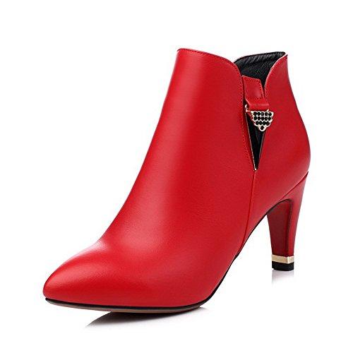 AgooLar Damen Rein Pu Leder Hoher Absatz Reißverschluss Spitz Zehe Stiefel Rot