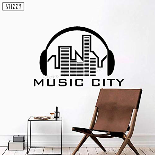 Music City Kopfhörer Vinyl Wandaufkleber Kreative Urban Silhouette Kunstwand Song Geschenk Modern Decor 63 * 42 cm ()