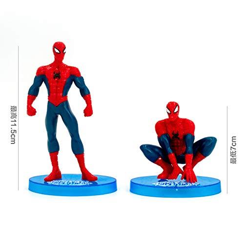 chmhy Spiderman Kuchen Dekoration Cartoon Tag Plug-In Plug-In Puppe Modell Bokeh Dekoration Dekorateur Kind Leichte Spider-Man 7-teiliges Set