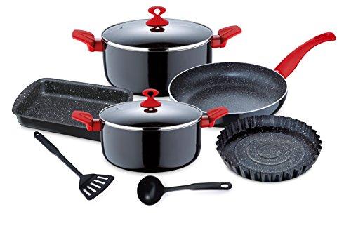 Renberg Argent - Batería de cocina, 9 piezas, aluminio prensado, color rojo