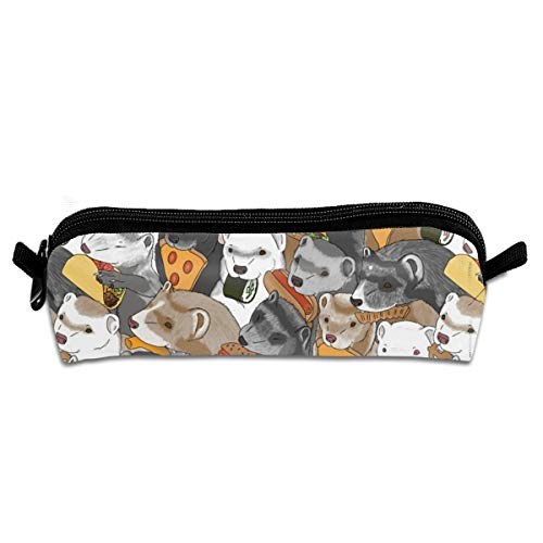 Ferrets And Snack Foods Pizza Tacos Cheeseburger Sushi Pretzel Fries Cheese Puffs Pencil Pouch Bag Stationery Pen Case Makeup Box with Zipper Closure 21 X 5.5 X 5 cm