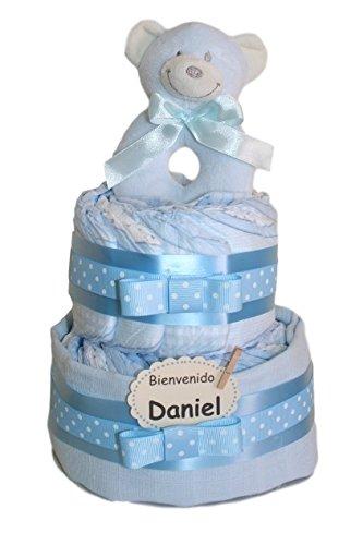 Tarta de pañales pequeño dormilón azul. Regalo original para recién nacido - tarta pañales - regalo...