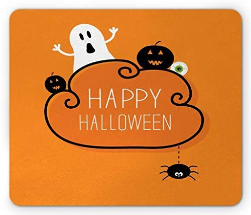 Halloween Mouse Pad, Ghost Pumpkin Eyeball and Hanging Spider Simplistic Happy Halloween Items, Standard Size Rectangle Non-Slip Rubber Mousepad, Orange Black White