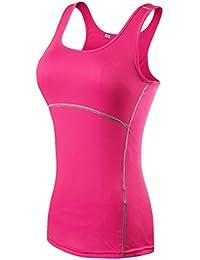 ZKOO Femme Casual T-shirts et Tops de Sport Gilet T-Shirt Women Sport Fitness Elastic Quick-Drying Slim Vest Tops