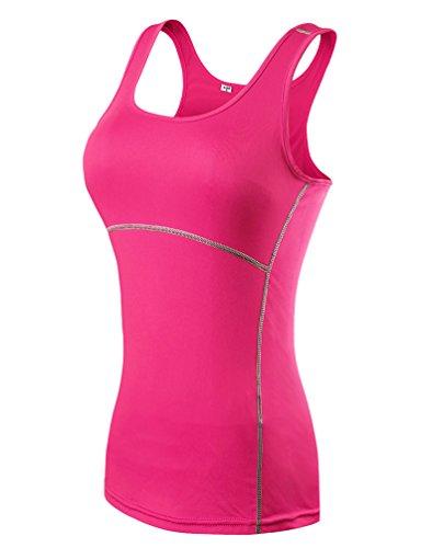 ZKOO-Donna-Sport-Esercizio-Formazione-Fitness-Yoga-Quick-Drying-Senza-Maniche-Gilet-Maglietta-Canotte-Vest-Rosa-S