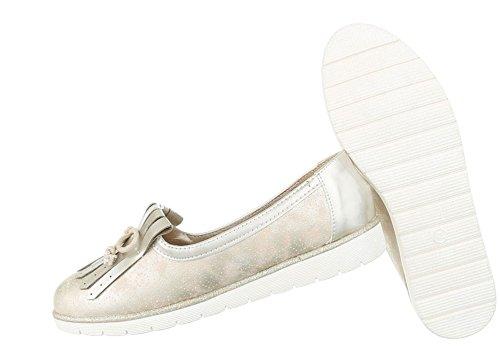 Damen Halbschuhe Schuhe Slipper Loafer Mokassins Flats Slip On Schwarz Beige Pink Silber 36 37 38 39 40 41 Beige